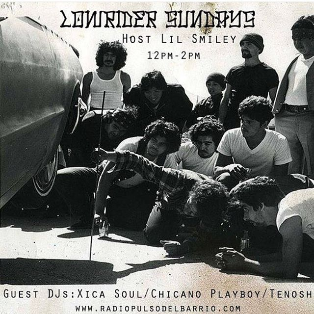 Hey raza, this on now so tune in at www.radiopulsodelbarrio.com for some fine tunes this afternoon w/ your host Lil Smiley @meleesas @hvyd @radiopulsodelbarrio @chicanoplayboy 🎶✨🎭 #LowriderSundays