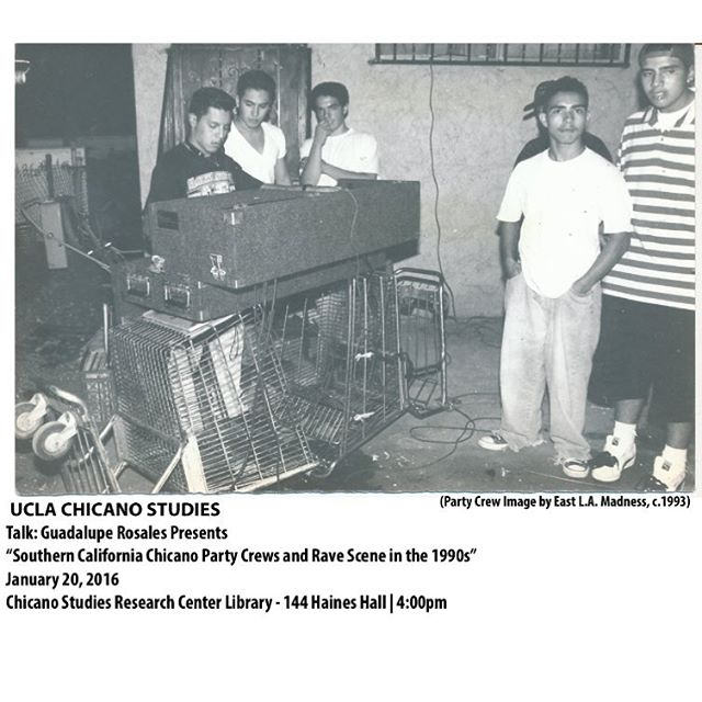 """~MARK YOUR CALENDARS ~ Exciting News and many others to follow! Come support and say hello (for more info- link in bio) see you there!- Guadalupe  Archive Talk: Guadalupe Rosales presents """"Southern California Chicano Party Crews and Rave Scene in the 1990s"""" Wednesday, January 20, 4:00-6:00 p.m.  Guadalupe  Rosales's collection at the Chicano Studies Research Center consists of ephemera and memorabilia that highlight the Chicana/o underground party crews and rave scenes of Los Angeles during the 1980s and 1990s. Disempowered and criminalized by the public school system and mainstream media, party crews allowed youth to engage in resistant cultural practices and to create underground communities. Techno, house, new wave, and KROQ music provided the soundtrack for these parties, which took place in residential backyards and industrial warehouses throughout the Los Angeles area and in Sacramento, San Diego, Orange County, and other areas in the U.S. Southwest as well.  After Rosales's presentation, a panel will discuss how the collection highlights the ways in which party crews created a culturally relevant and self-reflective space. Panelists will include Rosales, former party crew members, and other special guests. Sandra Ruiz, a visiting lecturer in the departments of Chicana/o studies at UCLA, will moderate the discussion. A reception will follow the event.  This event is open and free to the public. We encourage you to wear or bring your old school party crew gear and represent! #LAPartyCrews #CSRC @ucla_csrc"""