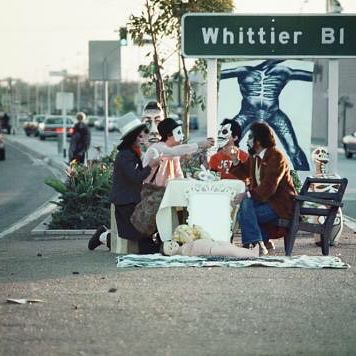 """Photo by Harry Gamboa Jr. To quell civil unrest in #EastLosAngeles in the early 1970s, police canceled parades and other activities in the Mexican neighborhood. Asco's response, according to Gronk, was to """"take action and actually use the streets once again."""" #ArtePower #FTP @elgronk"""