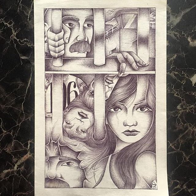 "Ball point pen drawing by Angel Ramirez 2001. ""I wrote to Angel from the age of 14  until I was 23 when he got out. Passed away in 2010. Rest easy Angel Ramirez""- @gypsyremedial (Scrappy From #Tepa13) #PrisonArt"