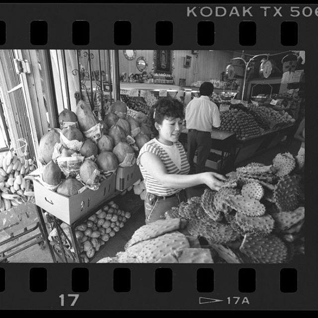 Maria Girelda selecting nopales at Sal's Market on #BrooklynAve. in #BoyleHeights, Calif., 1987