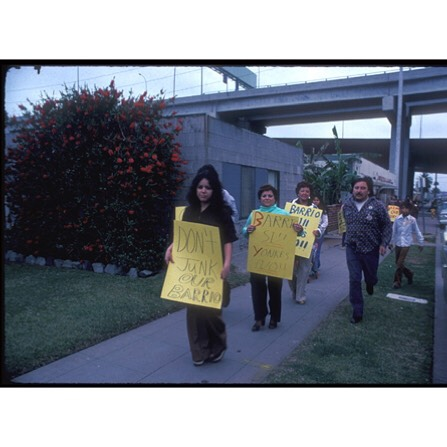 "A demonstration against the ""Yonkes"", the junk dealers who began encroaching on the Barrio and deteriorating the quality of life. At issue was also the zoning of the Barrio, which was mixed use industrial/residential, instead of just residential, creating environmental problems. #SanDiego #California"