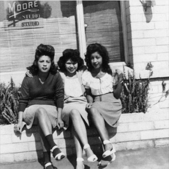 Lucy fonseca, Ramona Fonseca, and Annie Madalena pose in front of Moore studio on Celis street in San Fernando. 1943 🙏✨ gracias @fredy_loke