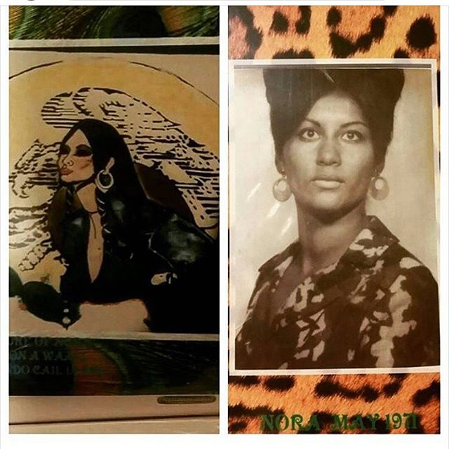 """May 1971 """" In memory of NORA GOVEA, #SanFer (city of San Fernando) veterana with mural (pictured left) painted over 40 years ago and partially still stands today. My Tia and mom to my cousin @b1gnasty """" thank you @doeboy818"""