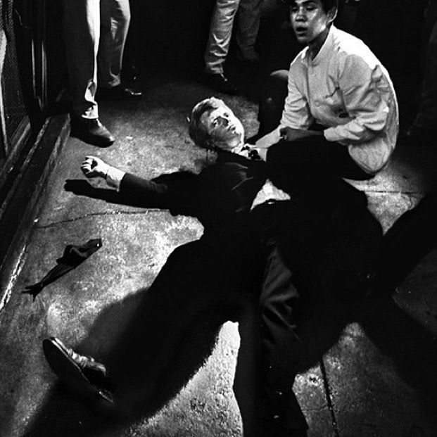 "On June 5, 1968 Robert F. Kennedy had won the California presidential primary and made his victory speech at the Ambassador Hotel in Los Angeles, where Juan Romero was a 17-year-old busboy. Romero reached out, took Kennedy's hand, and watched him slump to the floor as gun blasts echoed. ""I wanted to protect his head from the cold concrete,"" says Romero, who went to Roosevelt high school the next day with Kennedy's blood crusted under his fingernails, refusing to wash it away. 🙏 ""I don't know if you can understand this, but what happened in 1968 made me realize that no matter how much hope you have, it can be taken away in a second."""