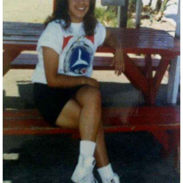 Chiquita at East Los Stevenson Jr HS 1989 @mmqtsmiles (them Filas and Mercedes T-shirt tho)