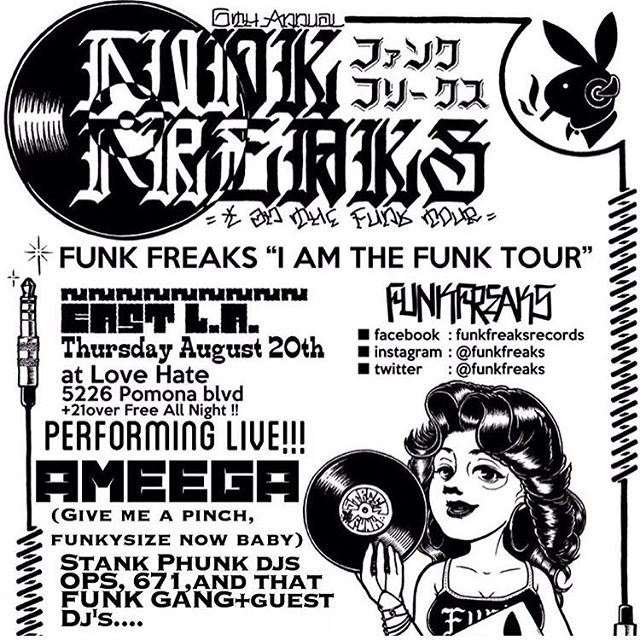What's up funkeros, this is happening on the 20th ✊ see you there!  Ameega Loba Amiga Performing live!  And with special guest Dj from the funkeros out of LOS  DJ SOUL BOOGIE Brian Chacon  And the Stank Phunk crew Ops Da Mystic 671 John Provencio and THAT FUNK GANG  FREE all night! $1 dos xx's  Goes down at  LOVE HATE BAR  5226 Pomona ave. EAST L.A.