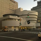 Guggenheim Museum - Exterior of museum at sunset, Nov '14 - New York, NY, United States