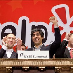 Yelp - Yelp CEO Jeremy Stoppelman and team at the March 2012 Yelp IPO on the New York Stock Exchange - San Francisco, CA, United States