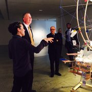 Bronx Museum of the Arts - artist Sarah Sze and NYC Mayor Bill de Blasio - Bronx, NY, United States